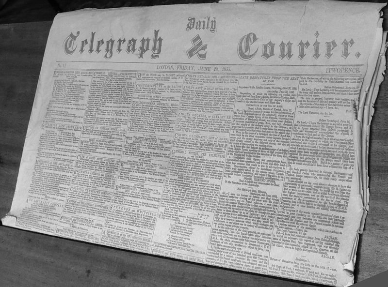 The first edition of what is now The Daily Telegraph (picture in public domain)
